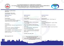 BİRİNCİ OTURUM 10:20 - 12:00 Oturum Başkanı Prof. Dr