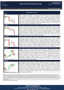29 Eylül 2014 Özbey Finansal Danışmanlık Ltd Şti.