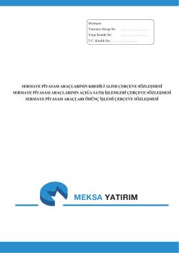 MEKSA YATIRIM - Meksa Yatırım Menkul Değerler A.Ş.