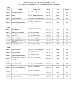 arkeoloji bölümü klasik arkeoloji anabilim dalı 2014