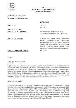 Dosya No: 2014/3134 - Kamu Denetçiliği Kurumu