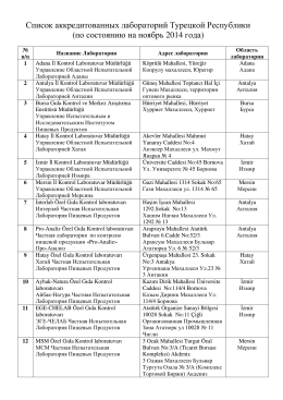 Список аккредитованных лабораторий Турецкой Республики (по