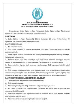 ilan formu - Bitlis Eren Üniversitesi