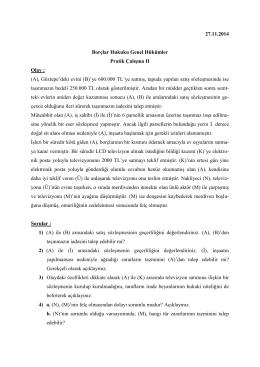27.11.2014 Borçlar Hukuku Genel Hükümler Pratik Çalışma II Olay