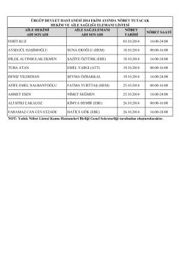 Ürgüp Devlet Hastanesi EKİM Ayın Nöbet Listesi