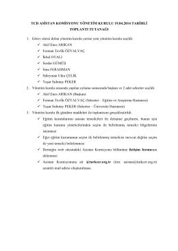 TCD ASİSTAN KOMİSYONU YÖNETİM KURULU 19.04.2014