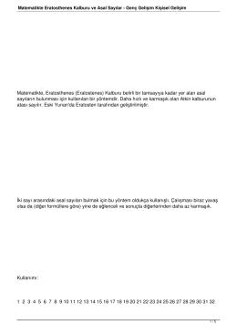 Matematikte Eratosthenes Kalburu ve Asal Sayılar