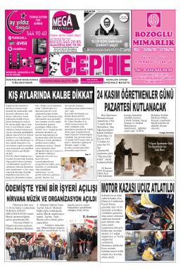 22.11.2014 Tarihli Cephe Gazetesi