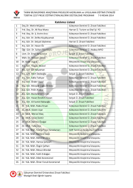 Katılımcı Listesi - Süleyman Demirel Üniversitesi