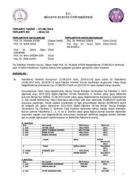 27/08/2014 Tıp Fakültesi Yönetim Kurulu Kararı