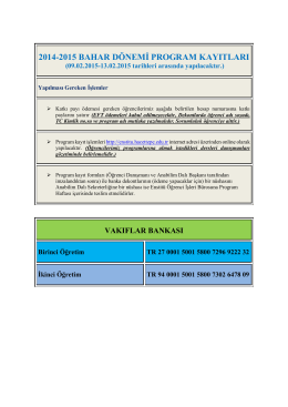 Program Kayıtları - Fen Bilimleri