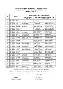 Mart Ayı Belletmen Öğretmen Nöbet Listesi