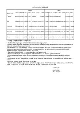 Zeki DAĞLI Okul Müdürü 1- Haftalık Nöbet çizelgesi 23/02//2015