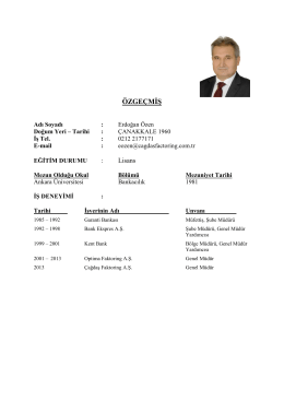 Erdoğan Özen - ÇAĞDAŞ Finans Factoring Hizmetleri A.Ş.