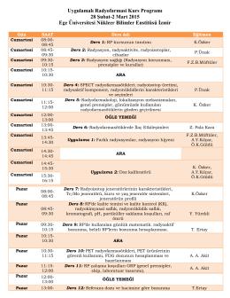 Uygulamalı Radyofarmasi Kurs Programı 28 Şubat