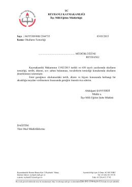 Okulların Temizliği - reyhanlı ilçe millî eğitim müdürlüğü