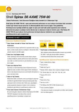 Page 1 Teknik Bilgi Formu Eski İsmi : Shell Spirax ASX 75W