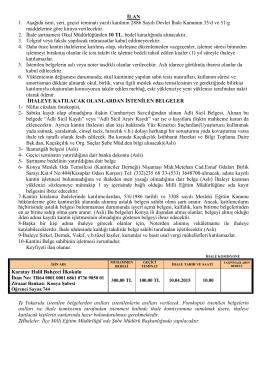 İhale İlanı (PDF) - Karatay İlçe Milli Eğitim Müdürlüğü