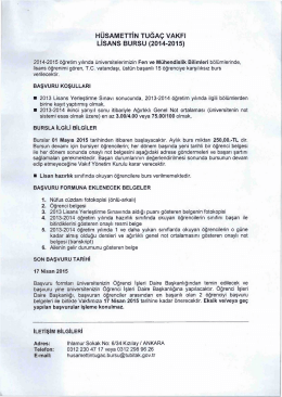 hüsamettin tuğaç vakfı lisans bursu (2014