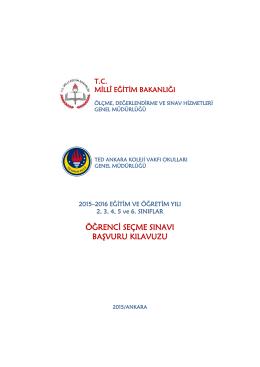 2015-2016 Eğitim Öğretim Yılı TED Ankara Koleji Vakfı Özel İlkokulu