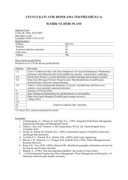 CEV5113 KATI ATIK DEPOLAMA TEKNİKLERİ (Gr 1