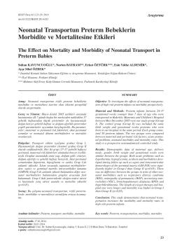 Neonatal Transportun Preterm Bebeklerin Morbidite ve Mortalitesine
