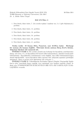 ELE 273 Ödev 3 Teslim tarihi: 10 Kas m 2014