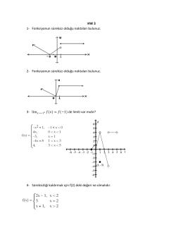 HW 3 1- Fonksiyonun süreksiz olduğu noktaları bulunuz. 2