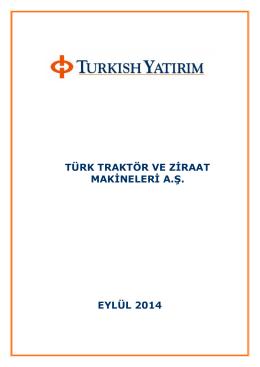türk traktör ve ziraat makineleri a.ş. eylül 2014