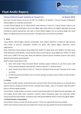 Fiyat Analiz Raporu - PhillipCapital Türkiye