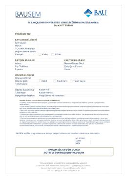 Ön Kayıt Formu - BAUSEM - Bahçeşehir Üniversitesi