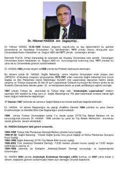 Dr. Hikmet HASSA nın özgeçmişi .