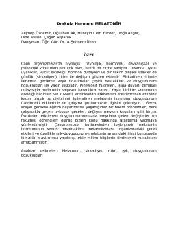 P7. Drakula Hormon: Melatonin - Başkent Üniversitesi Tıp Fakültesi