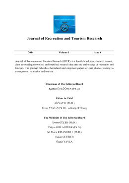 Editorial Board - Journal of Recreation and Tourism Resarch
