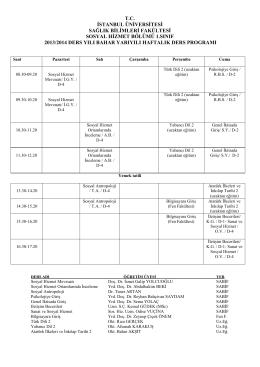 Ders Programı - Sağlık Bilimleri Fakültesi