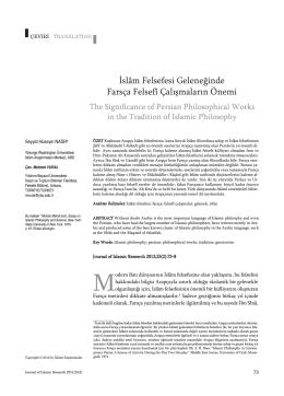 İslâm Felsefesi Geleneğinde Farsça Felsefî Çalışmaların Önemi