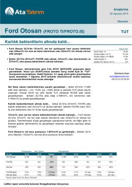 Ford Otosan (FROTO TI/FROTO.IS) TUT Karlılık