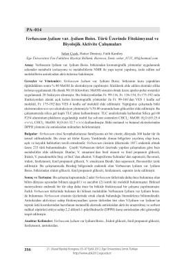 Verbascum lydium var. lydium Boiss. Türü Üzerinde Fitokimyasal