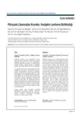 Pitriyasis Likenoides Kronika Hodgkin Lenfoma Birlikteliği