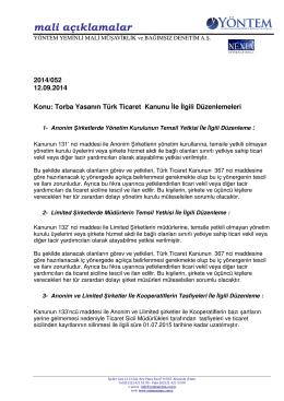 2014-052 Torba Yasanın Türk Ticaret Kanunu İle İlgili Düzenlemeleri