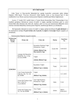 Süt Ürünleri Listesi