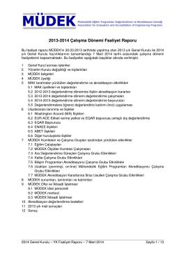 2013-2014 Çalışma Dönemi Faaliyet Raporu
