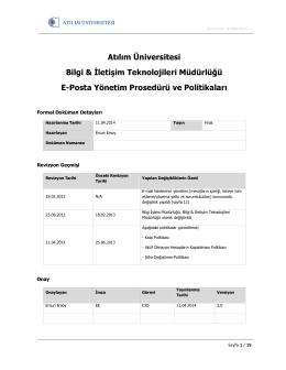 E-Posta Yönetim Prosedürü - Bilgi ve İletişim Teknolojileri Müdürlüğü