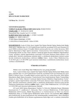 T.C. AYDIN BÖLGE İDARE MAHKEMESİ Y.D İtiraz - Türk Eğitim-Sen