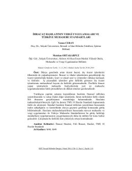 ihracat hasılatının vergi uygulamaları ve türkiye muhasebe standartları