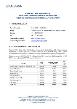 Eylül - Diler Yatırım Bankası A.Ş.