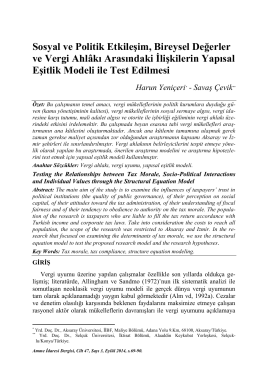 Sosyal ve Politik Etkileşim, Bireysel Değerler ve Vergi Ahlâkı