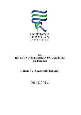Dönem IV Akademik Takvimi - Recep Tayyip Erdoğan Üniversitesi