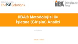IIBA® Metodolojisi ile İşletme (Girişim) Analizi