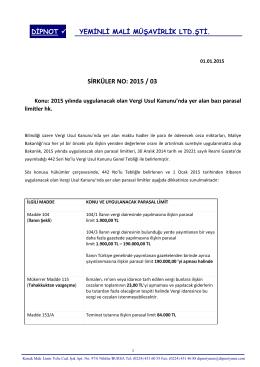 sırk 2015-03 2015 yılı vergi usul kanunu tutarları hk.